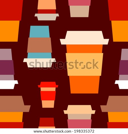 Seamless pattern with takeaway paper coffee cups - stock vector
