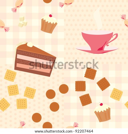 seamless pattern with tea, cake, candies  and cookies - stock vector