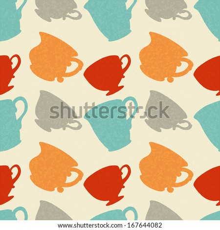 Seamless Pattern with Tea / Coffee Cups. Endless Print Silhouette Texture. Drinks. Hand Drawing. Retro. Vintage Style - vector - stock vector