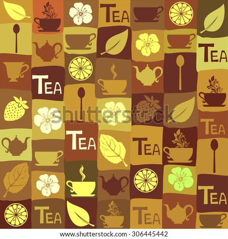 Seamless pattern with tea pots and tea cups. Cute kitchen pattern. Vector Illustration - stock vector