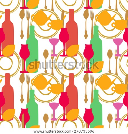 Seamless pattern with tea utensils,cutlery and wine glasses. - stock vector