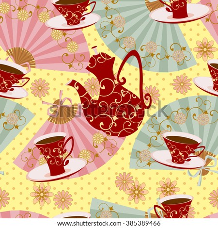 Seamless pattern with teapot, tea cups, flowers and fans. Patterned kettle or coffee pot and patterned Cup with a drink. - stock vector