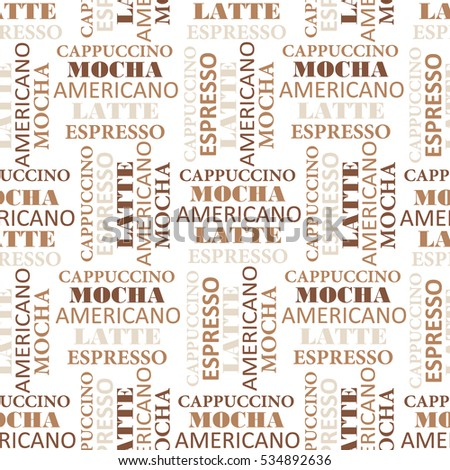Seamless pattern with text. Coffee-colored background, coffee time. Decorative wallpaper, good for printing for cafe. White and brown backdrop vector