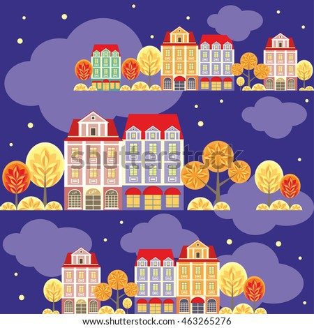 seamless pattern with the image of old town houses, clouds and trees.night autumn cityscape.