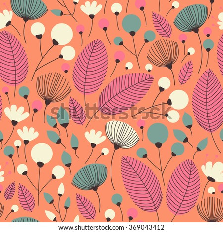Seamless pattern with the leaves and the flowers. Seamless pattern can be used for wallpaper, pattern fills, web page background, surface textures.