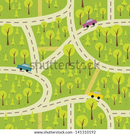 seamless pattern with the wood and roads - stock vector
