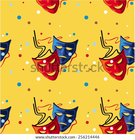 Seamless pattern with theater masks - stock vector