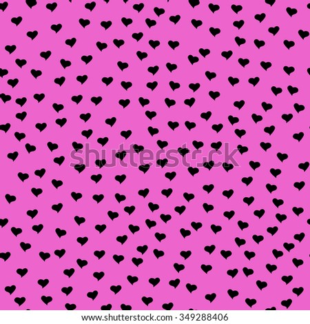 Seamless pattern with tiny black hearts. Abstract repeating. Cute backdrop. Hot pink background. Template for Valentine's, Mother's Day, wedding, scrapbook, surface textures. Vector illustration. - stock vector