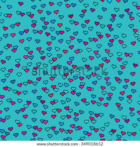 Seamless pattern with tiny colorful hearts. Abstract repeating. Cute backdrop. Blue background. Template for Valentine's, Mother's Day, wedding, scrapbook, surface textures. Vector illustration. - stock vector