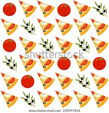 Seamless pattern with tomato, pizza and olive - stock vector