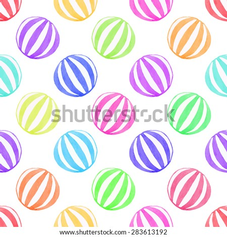 Seamless pattern with toy ball. Hand-drawn background. Vector illustration. Real watercolor drawing.