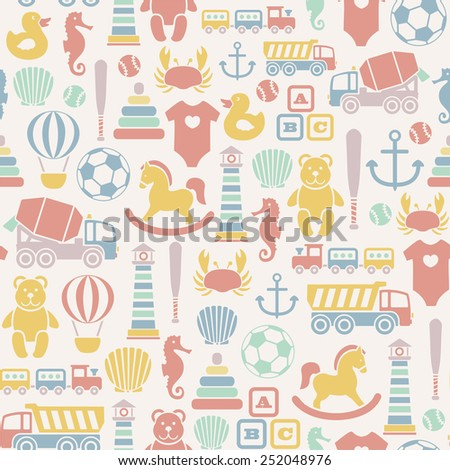 seamless pattern with toys icons. isolated on white - stock vector
