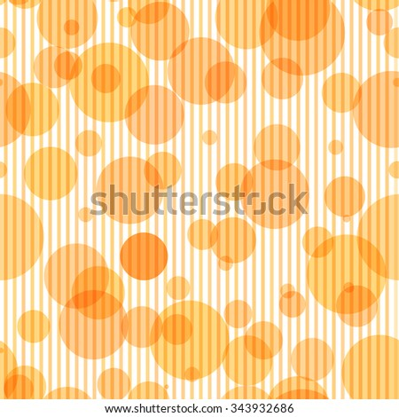 Seamless pattern with transparent circles and vertical stripes in soft orange colors - stock vector