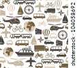 seamless pattern with transport icons - stock vector