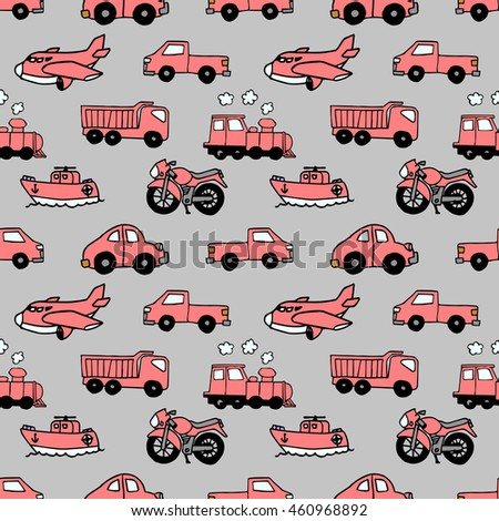 Seamless pattern with transportation concept
