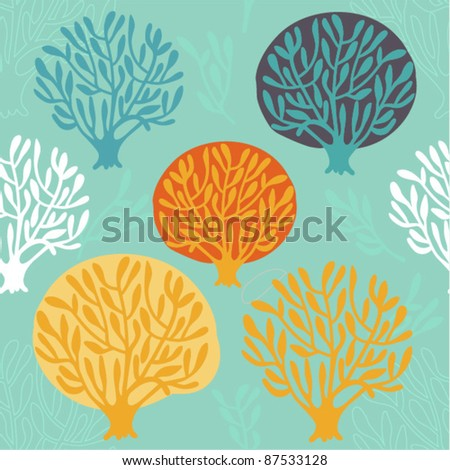 seamless pattern with tree - stock vector