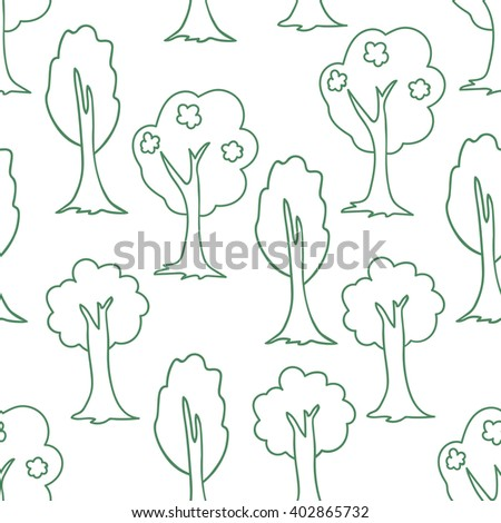 Seamless pattern with trees. Forest background. Thin line forest. Vector illustration. - stock vector