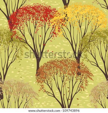 Seamless pattern with trees in autumn season - stock vector