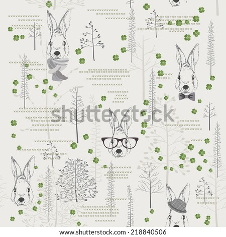 Seamless pattern with trees, shrubs, foliage, rabbits, hares, glasses, hat, bow tie, scarf, animals on light background. Background for fabric, scrapbooking in hipster style. Hand drawing.
