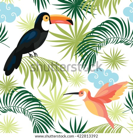seamless pattern with tropical birds - stock vector