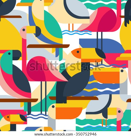 Seamless pattern with tropical birds. Vector flat background with toucan, cockatoo parrot, flamingo and pelican. Design concept for fabric design, textile print, wrapping paper or web backgrounds.  - stock vector