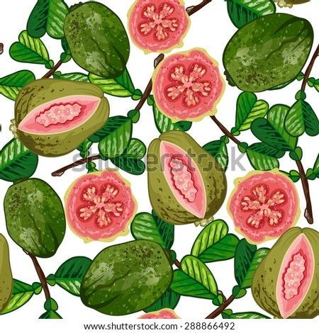seamless pattern with tropical fruits  - stock vector