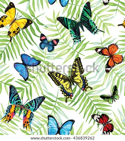 Seamless pattern with tropical leaves and butterflies. Vector illustration. - stock vector