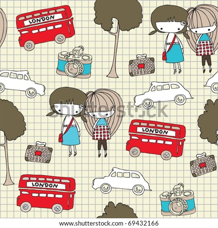seamless pattern with two girls - stock vector