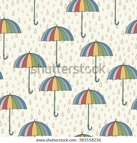 Seamless pattern with umbrellas and rain. Can be used for wallpaper, pattern fills, greeting cards, webpage backgrounds, wrapping paper or fabric. Vector illustration. EPS 10.