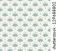 Seamless pattern with umbrellas and rain drops. Can be used to fabric design, wallpaper, decorative paper, web design, etc. Swatches of seamless patterns included in the file. - stock photo