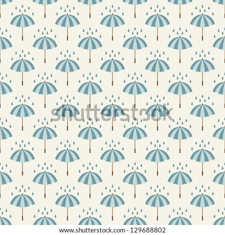 Seamless pattern with umbrellas and rain drops. Can be used to fabric design, wallpaper, decorative paper, web design, etc. Swatches of seamless patterns included in the file. - stock vector