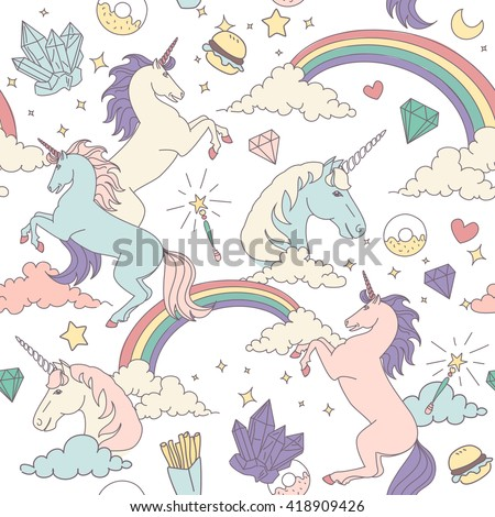 Seamless pattern with unicorns, rainbows, stars, clouds and crystals  - stock vector