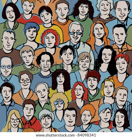 Seamless pattern with unrecognizable people faces. Seamless background with big smiling group people. With this picture you possible make very big crowd. Color vector illustration. - stock vector
