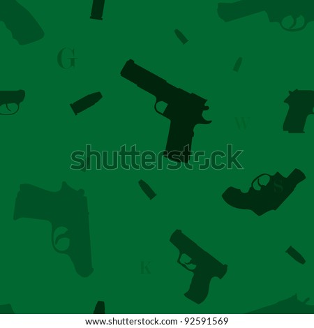 Seamless pattern with variety of hand guns, bullets and some alphabet letters