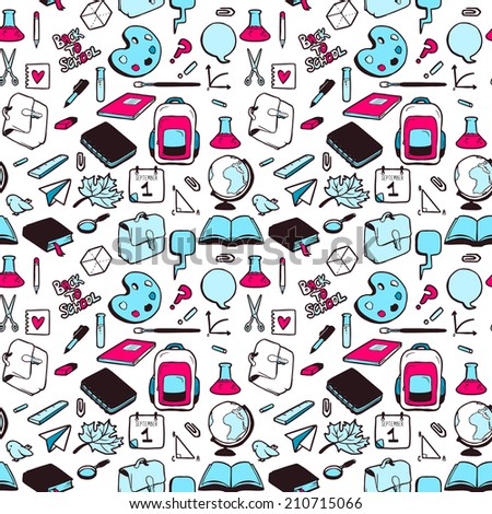 Seamless pattern with various elements for school. Vector seamless texture for wallpapers, pattern fills, web page backgrounds