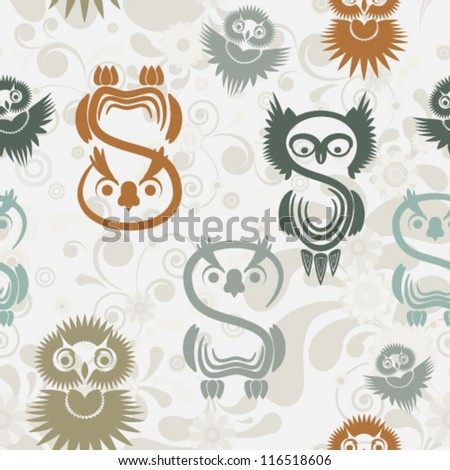 Seamless pattern with various owls on a neutral background. - stock vector