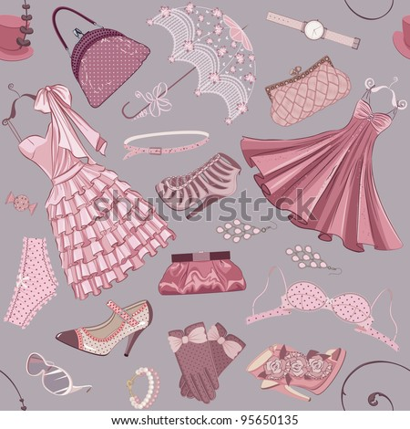 Seamless pattern with various  women's clothing, shoes and accessories in in pink color - stock vector