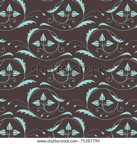 Seamless pattern with vintage blue ornament on the brown background - stock vector
