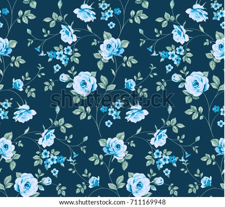 Seamless Pattern With Vintage Blue Roses On Dark Background Vector Floral Wallpaper