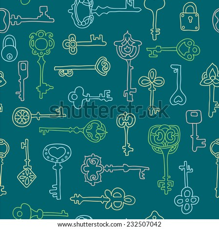 Seamless pattern with vintage keys - stock vector