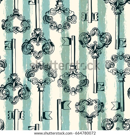 Seamless pattern with vintage keys. Freehand drawing. Can be used on packaging paper, fabric, background for different images, etc.