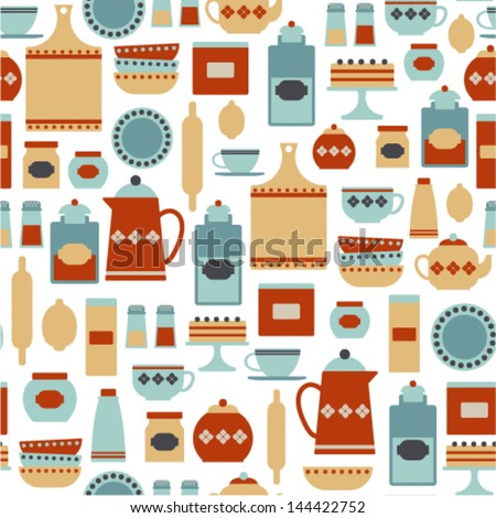 seamless pattern with vintage kitchen items - stock vector