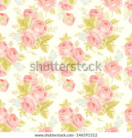 Seamless pattern with vintage roses - stock vector