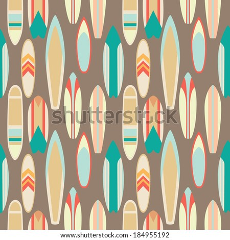 Seamless pattern with vintage surfboards in flat style - stock vector