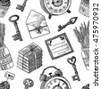 Seamless pattern with vintage things. Vintage keys, lavender, envelope, letter, cupcakes, books, alarm clock. Black and white background - stock photo