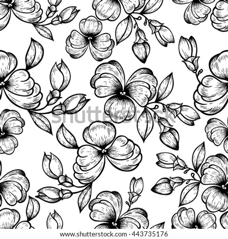 Seamless pattern with violets in black and white. Elegant boho style design. Hand drawn illustration for fashion, textile, fabric, cloth, material, stuff, wrapping paper, tiles, website wallpaper.