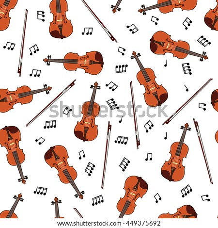 Seamless pattern with violins and notes on white background. Art vector illustration - stock vector