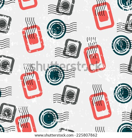 Seamless Pattern with Visa Stamps. Vector Background for Traveler - stock vector