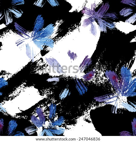 Seamless pattern with watercolor flowers. Sloppy strokes of a paint.  - stock vector