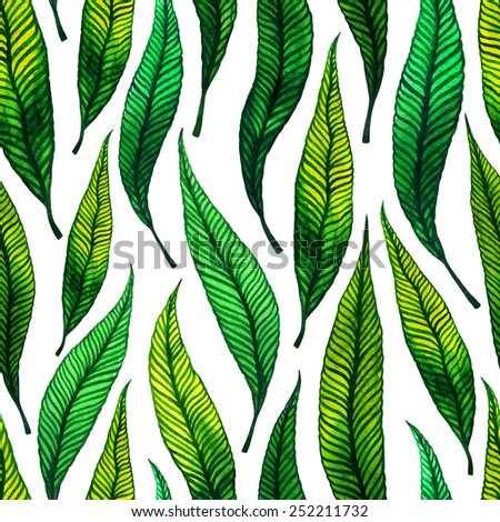 Seamless pattern with watercolor hand-drawn green leaves on the white background. Fabric, wallpaper, wrapping. Spring, summer hand-drawn background. Vector illustration. - stock vector